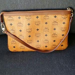 MCM cognac clutch/pouch bag